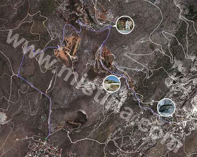 Χάρτης από το Goole Maps όπου φαίνεται η διαδρομή προς την σπηλιά του Νταβέλη